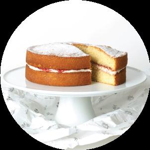 Sponge cake on stand