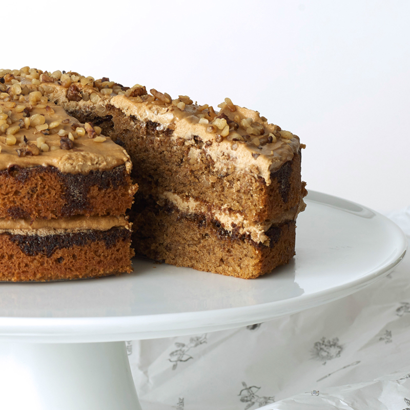 Coffee and walnut cake, gift wrapped cake.